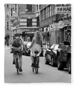 Copenhagen Lovers On Bicycles Bw Fleece Blanket