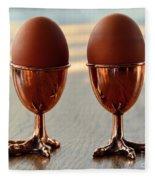 Copper Chicken Feet Egg Cups Fleece Blanket