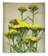 Copper On Yellow - Butterfly - Vignette 2 Fleece Blanket