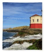 Coquille River Lighthouse At Bandon Fleece Blanket