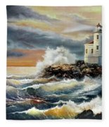 Coquille River Lighthouse At Hightide Fleece Blanket