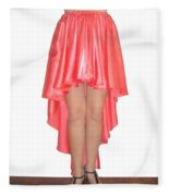Coral Pink Satin High Low Skirt With High Slit. Ameynra Simple Line Fleece Blanket