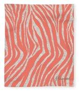 coral Zebra 3 Fleece Blanket