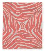 Coral Zebra Fleece Blanket