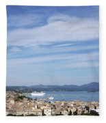 Corfu Town And Port With Cruiser Cityscape Fleece Blanket