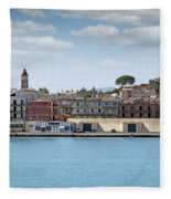 Corfu Town Port With Warehouses Fleece Blanket