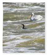 Cormorant And Pelican Fleece Blanket