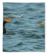 Cormorant Fish Fight Fleece Blanket