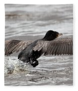 Cormorant Taking To The Air Fleece Blanket