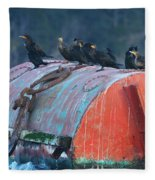 Cormorants On A Barrel Fleece Blanket