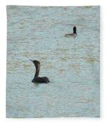 Cormorants On The Lake Fleece Blanket