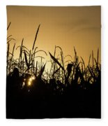 Corn Field Sunrise Fleece Blanket