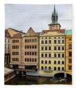 Corner Buildings In Prague Fleece Blanket