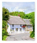 Cornish Thatched Cottage Fleece Blanket