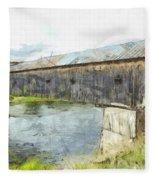 Cornish Windsor Covered Bridge Pencil Fleece Blanket