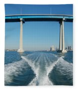 Coronado Bridge Wake Fleece Blanket