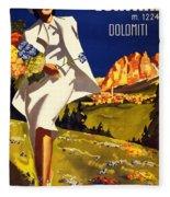 Cortina Dolomiti Italy Vintage Poster Restored Fleece Blanket