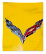 Corvette Emblem On Yellow Fleece Blanket