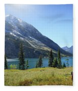 Cosley Ridge Over Cosley Lake - Glacier National Park Fleece Blanket