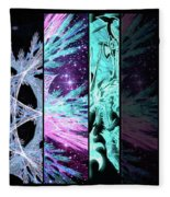 Cosmic Collage Mosaic Left Side Flipped Fleece Blanket by Shawn Dall