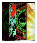 Cosmic Collage Mosaic Right Side Flipped Fleece Blanket by Shawn Dall