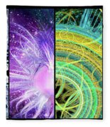 Cosmic Collage Mosaic Fleece Blanket by Shawn Dall