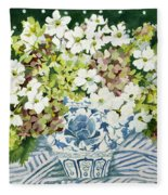 Cosmos And Hydrangeas In A Chinese Vase Fleece Blanket