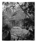 Cottage Black White Gardens Louisiana  Fleece Blanket