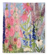 Cottage Flowers With Dragonfly Fleece Blanket