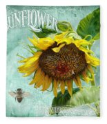 Cottage Garden - Sunflower Standing Tall Fleece Blanket