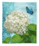 Cottage Garden White Hydrangea With Blue Butterfly Fleece Blanket
