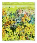 Cottage Gate Seen Through Sun Daisies Fleece Blanket