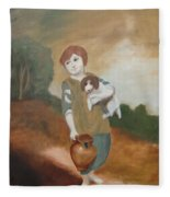 Cottage Girl With Dog And Pitcher Fleece Blanket