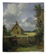 Cottage In A Cornfield Fleece Blanket