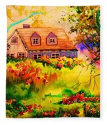 Cottage In Maine Fleece Blanket