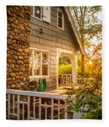 Cottage Sunset In Deep Cove, Nova Scotia Fleece Blanket
