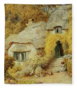 Cottages At Selworthy, Somerset Fleece Blanket