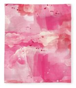 Cotton Candy Clouds- Abstract Watercolor Fleece Blanket