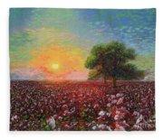 Cotton Field Sunset Fleece Blanket
