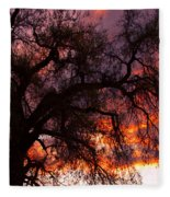 Cottonwood Sunset Silhouette Fleece Blanket