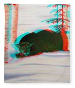 Cougar - Use Red-cyan 3d Glasses Fleece Blanket