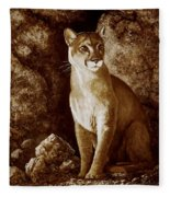Cougar Wait Until Dark  Fleece Blanket