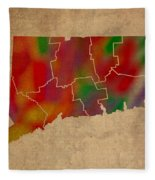 Counties Of Connecticut Colorful Vibrant Watercolor State Map On Old Canvas Fleece Blanket