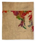 Counties Of Maryland Colorful Vibrant Watercolor State Map On Old Canvas Fleece Blanket