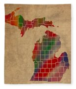 Counties Of Michigan Colorful Vibrant Watercolor State Map On Old Canvas Fleece Blanket