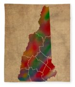 Counties Of New Hampshire Colorful Vibrant Watercolor State Map On Old Canvas Fleece Blanket