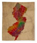 Counties Of New Jersey Colorful Vibrant Watercolor State Map On Old Canvas Fleece Blanket