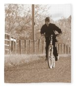 Country Boy And His Bike Fleece Blanket
