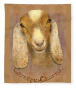 Country Charms Nubian Goat With Bright Eyes Fleece Blanket