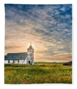 Country Church Sunrise Fleece Blanket